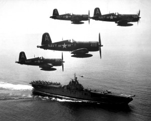 A picture of our plane flying in Korea Sept 1951 aboard the USS Boxer