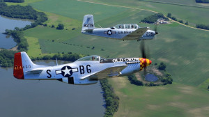 "N34AF in formation with ""Old Crow"" P-51"